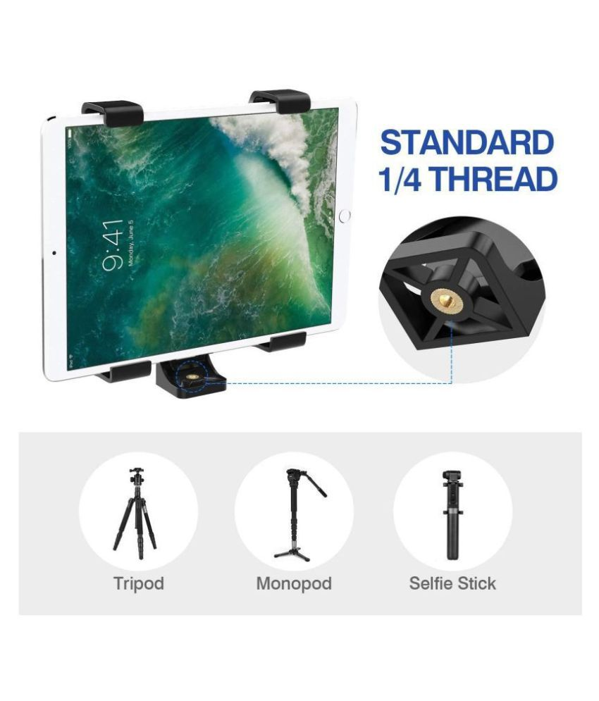 ASTEE  Universal Tri-pod Mount Adapter Clip with Adjustable Clamp for Mobile Phone, Smartphones & All Types of Trip-ods (Black)