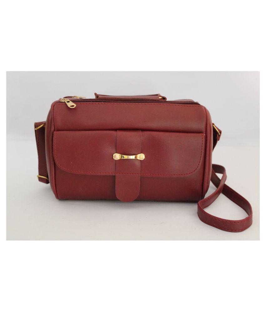 Klove Maroon P.U. Sling Bag