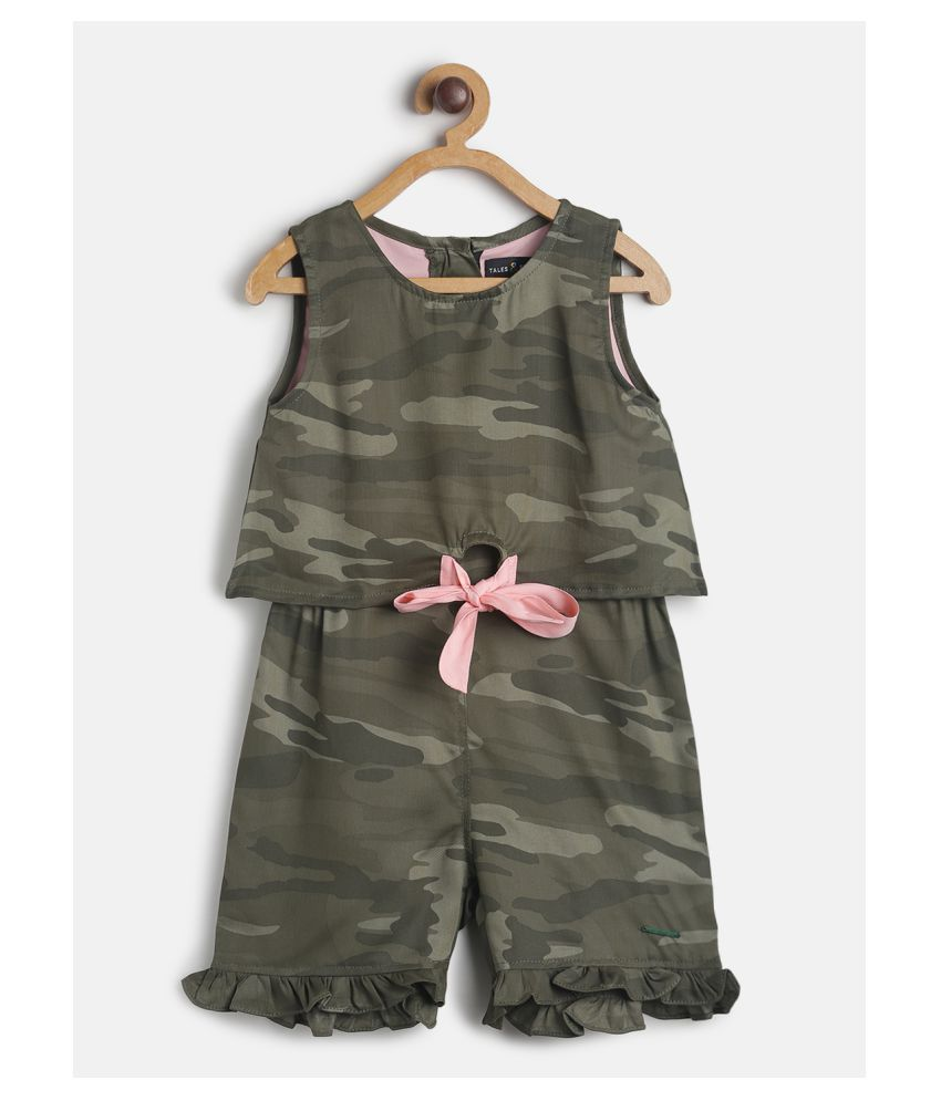 Tales & Stories Infant Girl's Olive-Green Camouflage Combo Set
