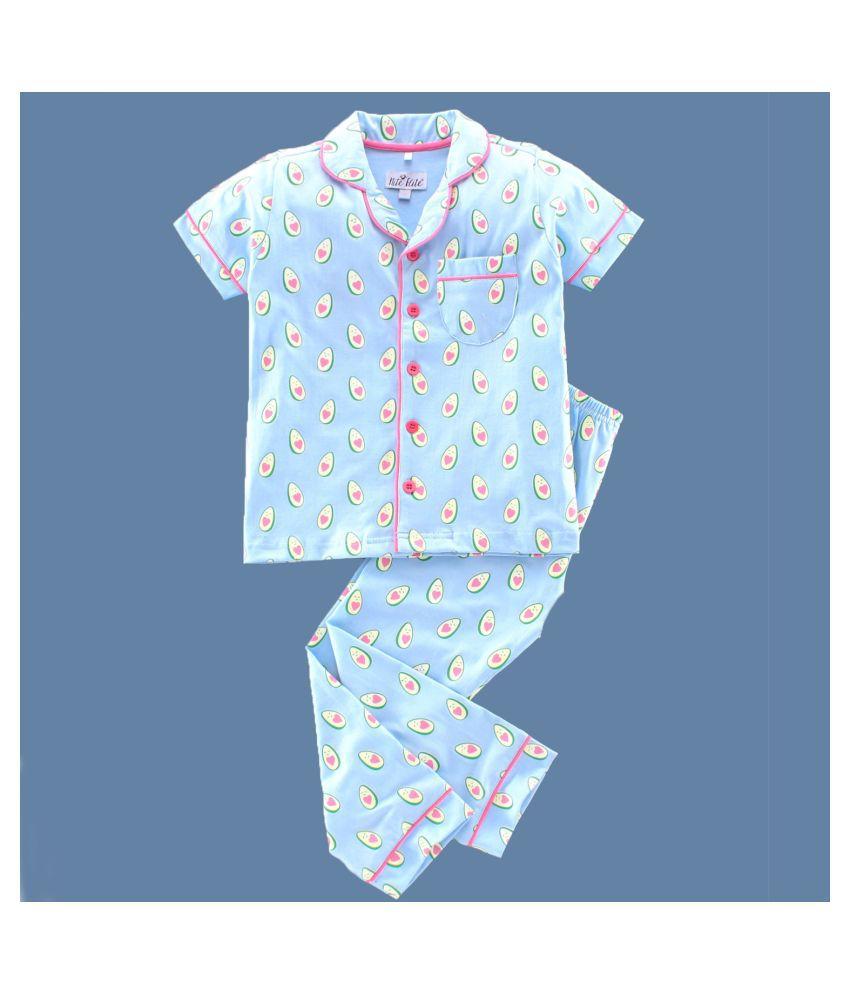 NITE FLITE Boys' Avo Addict Cotton Nightwear | Top and Pyjama Set (Mint Blue,4)