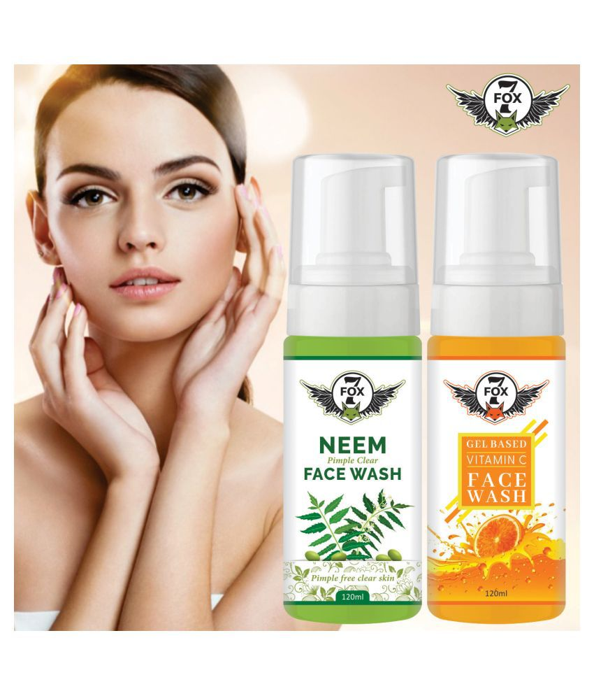 7 FOX Neem Face Wash & Vitamin C Face Wash For Brightening & Glowing Skin Face Wash 240 mL Pack of 2