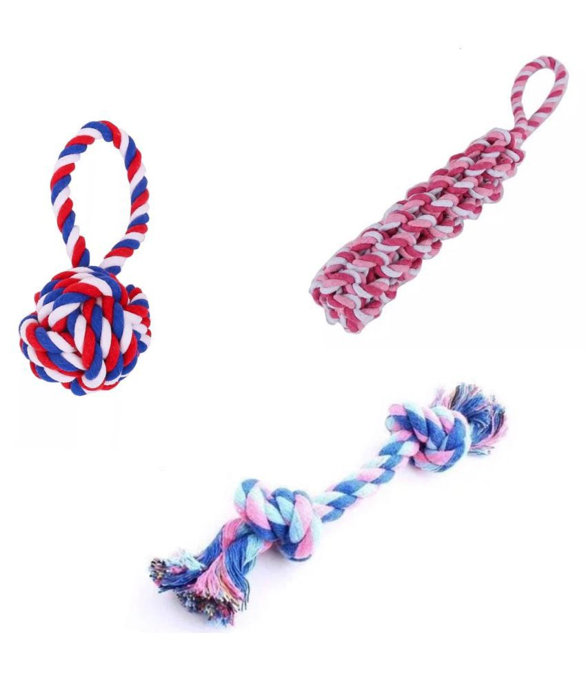 KUTKUT Combo of 3 Teeth Cleaning Chewing Biting Knotted Toys for Small Dogs - Made of 100% Natural and Safe Cotton