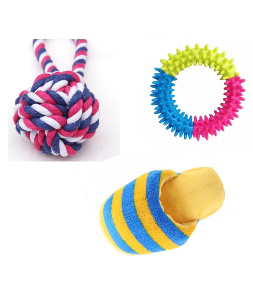 KUTKUT Training Toy set of Rope Ball, Teether and Squeaky for Small Dogs and Pets - Pack of 3