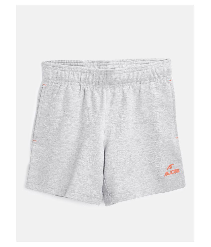 Alcis Boys Grey Melange Solid Slim Fit Sports Shorts