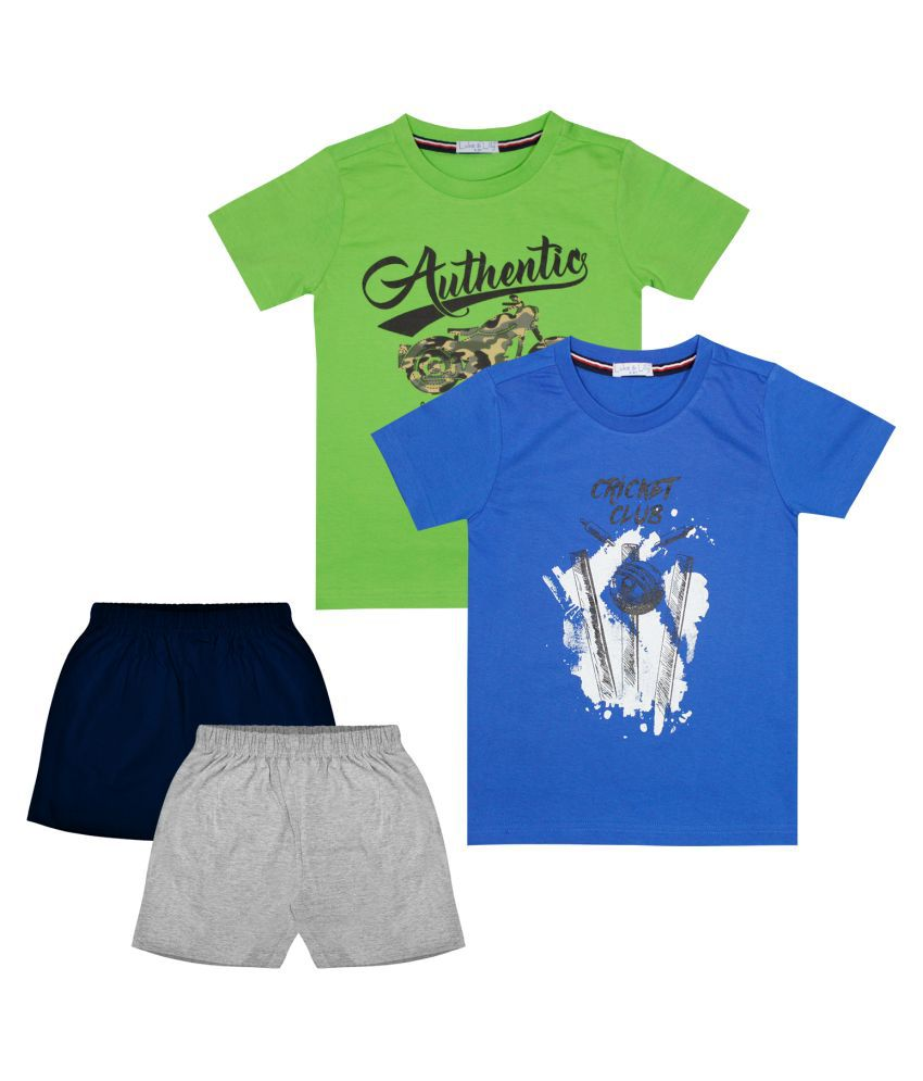 Luke and Lilly Boys Cotton Half Sleeve Multicolor Tshirt & Shorts Pack of 2