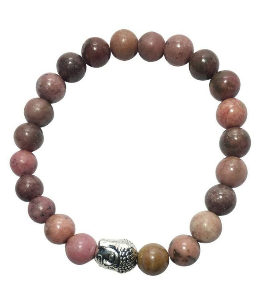 8mm Pink Rhodonite With Buddha Natural Agate Stone Bracelet