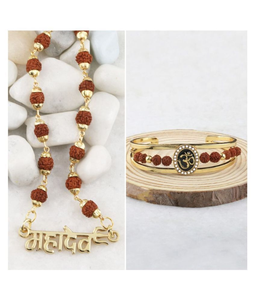 Gold Plated Traditional Combo Rudraksh Mala Pendant for Men and Women Set-2