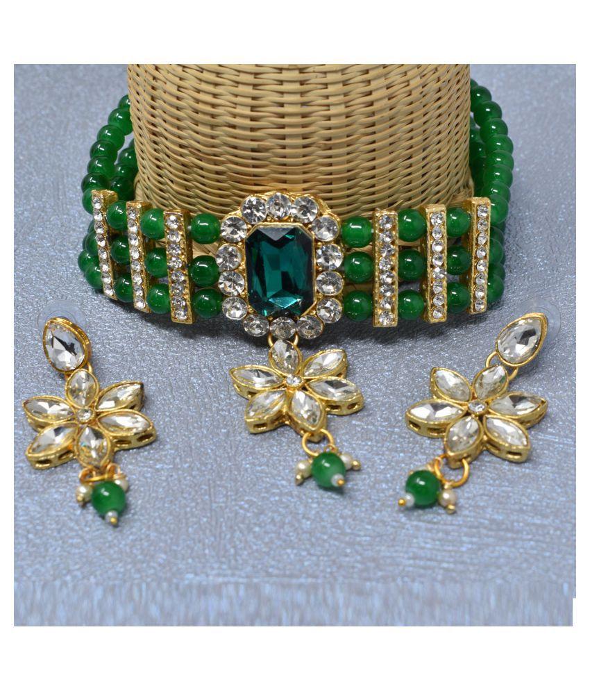Jaishree Jewels Alloy Green Traditional Necklaces Set Statement