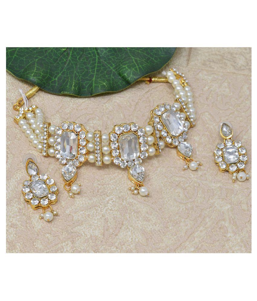 Jaishree Jewels Alloy White Traditional Necklaces Set Statement