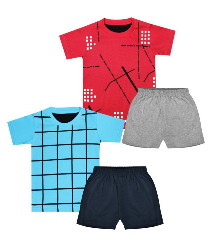 Luke and Lilly Boys cotton Printed Tshirt and Plain Shorts Muliticolour Pack of 2