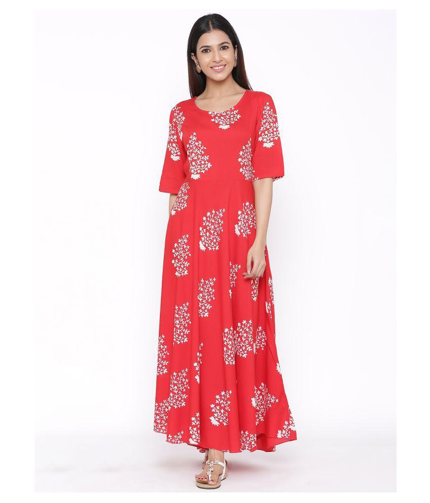 DAAVI Rayon Red Regular Dress