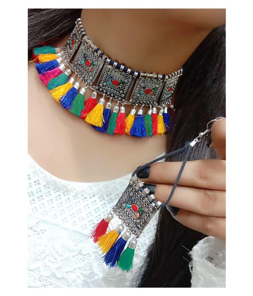 Darshini Designs Alloy Multi Color Contemporary/Fashion Necklaces Set Choker