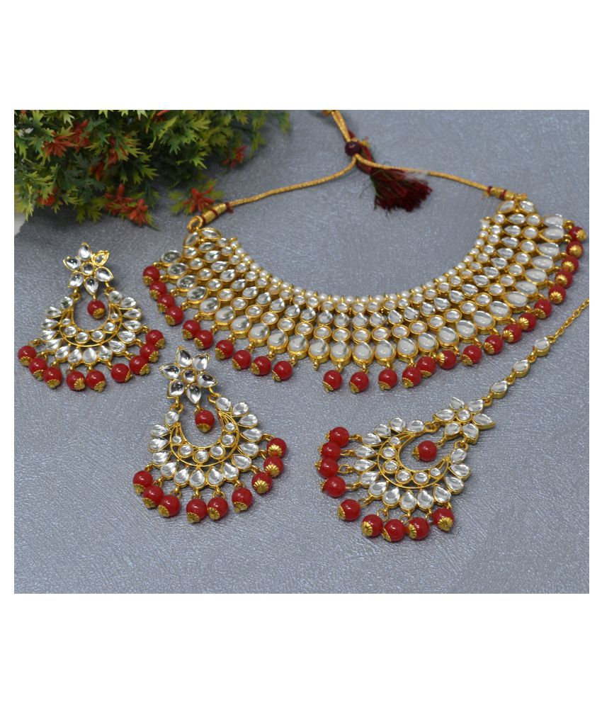 Jaishree Jewels Alloy Red Traditional Necklaces Set Statement