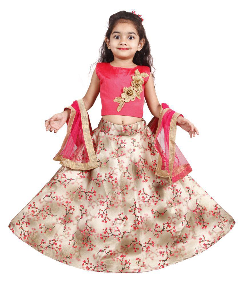 Girls Lehenga Choli Ethnic Wear Printed Ghagra Choli  (Multicolor, Pack of 1)
