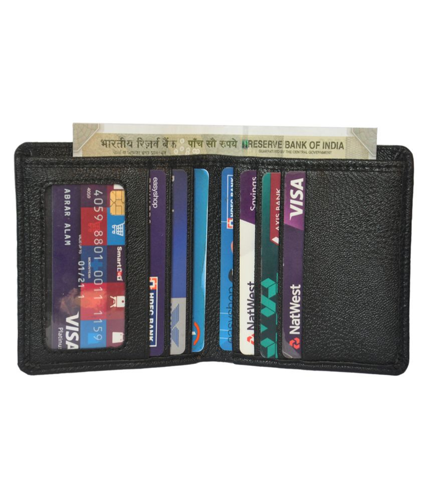 HIDE & SLEEK Handmade Artificial Leather Men Business Credit Card Holder Wallet