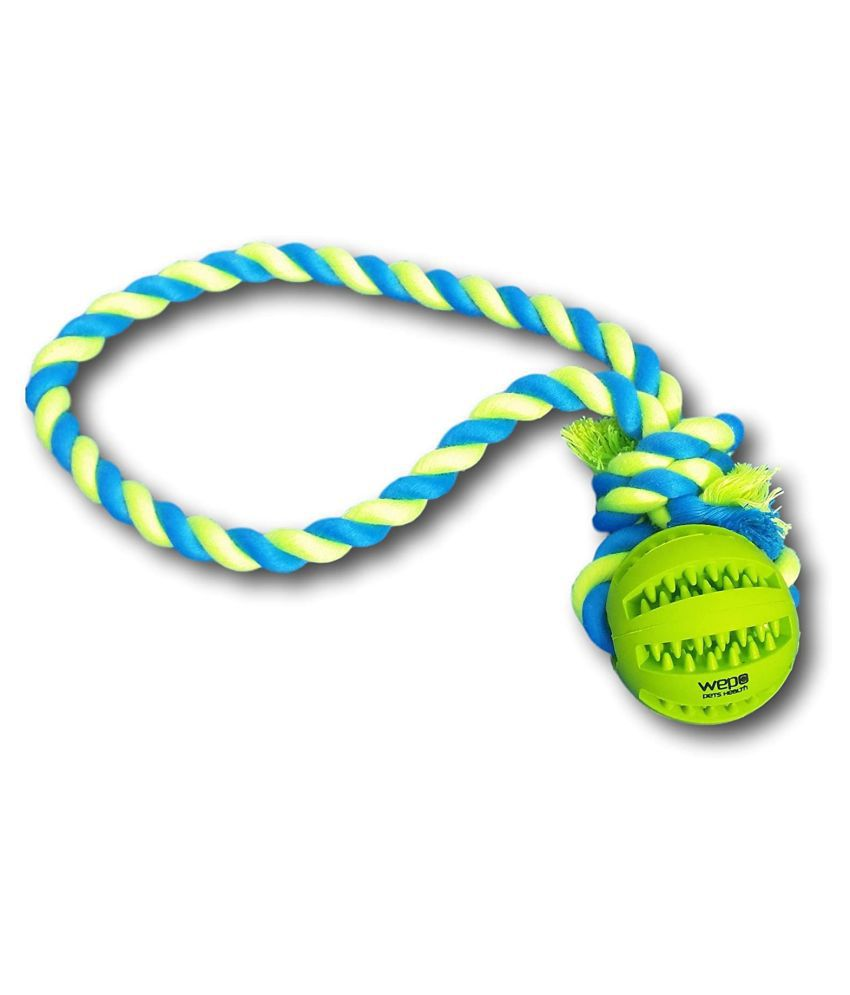 Emily Pets Dog Chew Ball Interactive Toys, Dog Cleans Teeth Training Balls On Cotton Rope For Small Medium Dogs Blue Medium