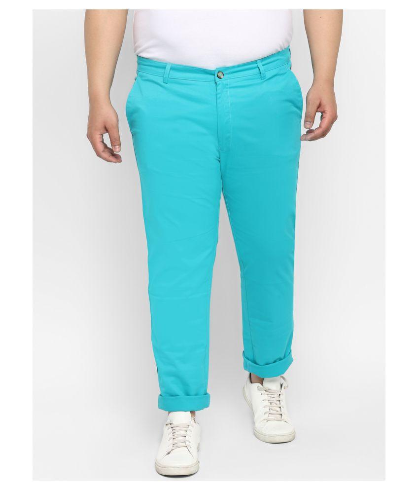 Urbano Plus Turquoise Blue Regular -Fit Flat Chinos