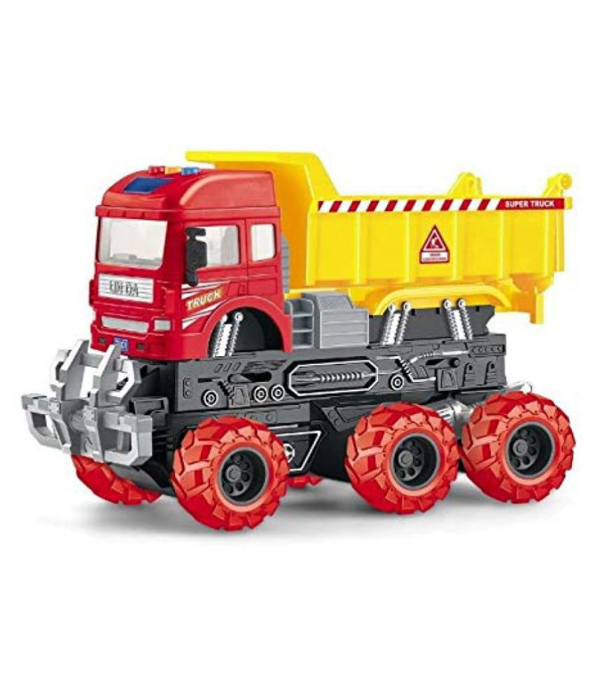 VBE  6x6 Wheeler Dumper Truck Toy Friction Powered Unbreakable Truck with Light & Sound Engineering Toys For Boys And Girls