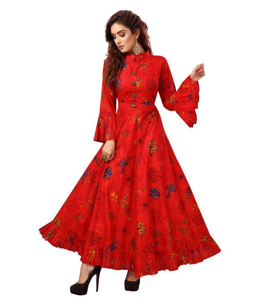 Madhuram Textiles Red Cotton Anarkali Kurti