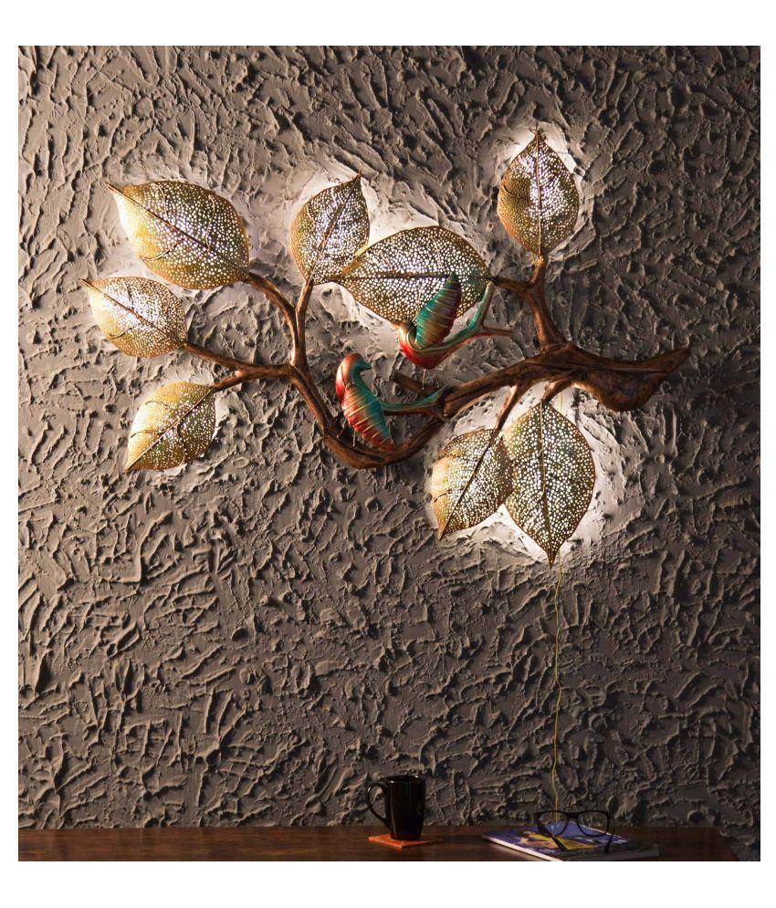 microtex Iron 2 Birds on tree cast Designer Shape Decoratives Panel Multi - Pack of 1