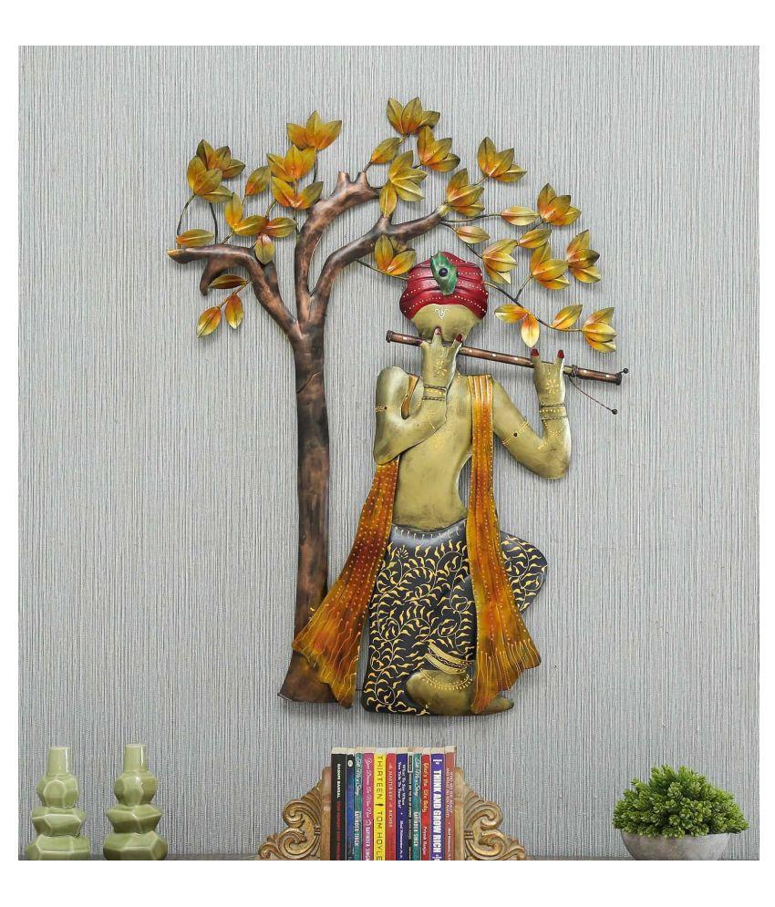 microtex Iron Krishna playing Designer Shape Decoratives Panel Gold - Pack of 1