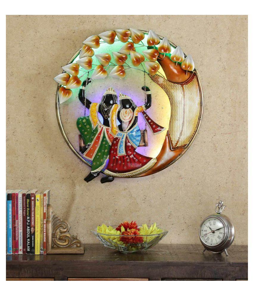 microtex Iron Radha Krishna Designer Shape Decoratives Panel Multi - Pack of 1