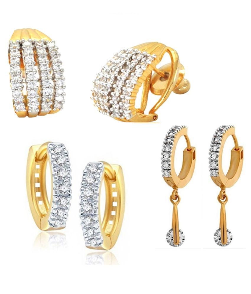 GoldNera Bollywood Style Traditional Ethnic American Diamond AD Set of 3 Pair of Earrings Zircon Brass Stud Earring.