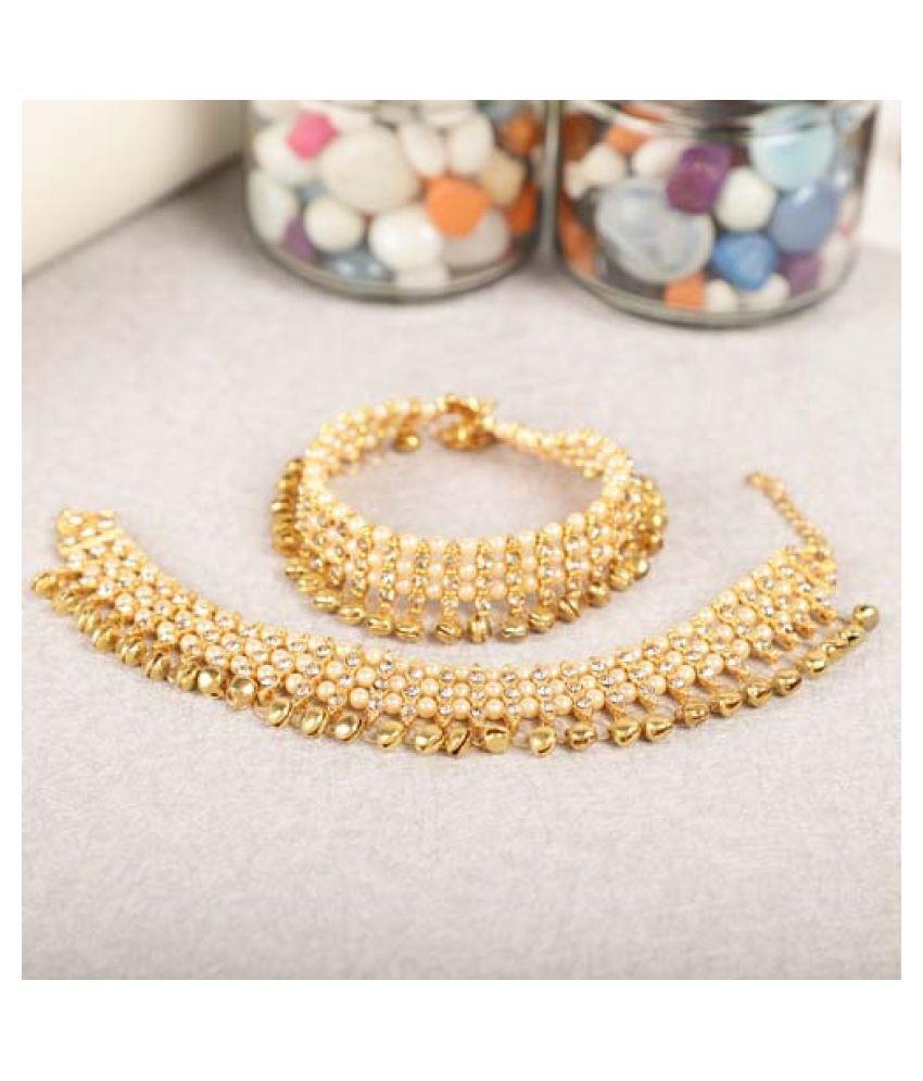 Steorra jewels Zircon & Artifical Pearl Anklet for Women