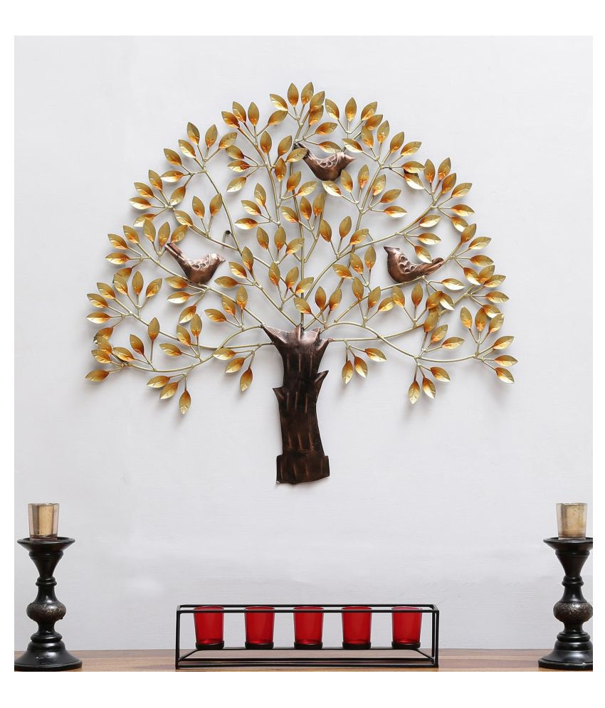 microtex Iron 3 Bird tree Designer Shape Decoratives Panel Gold - Pack of 1