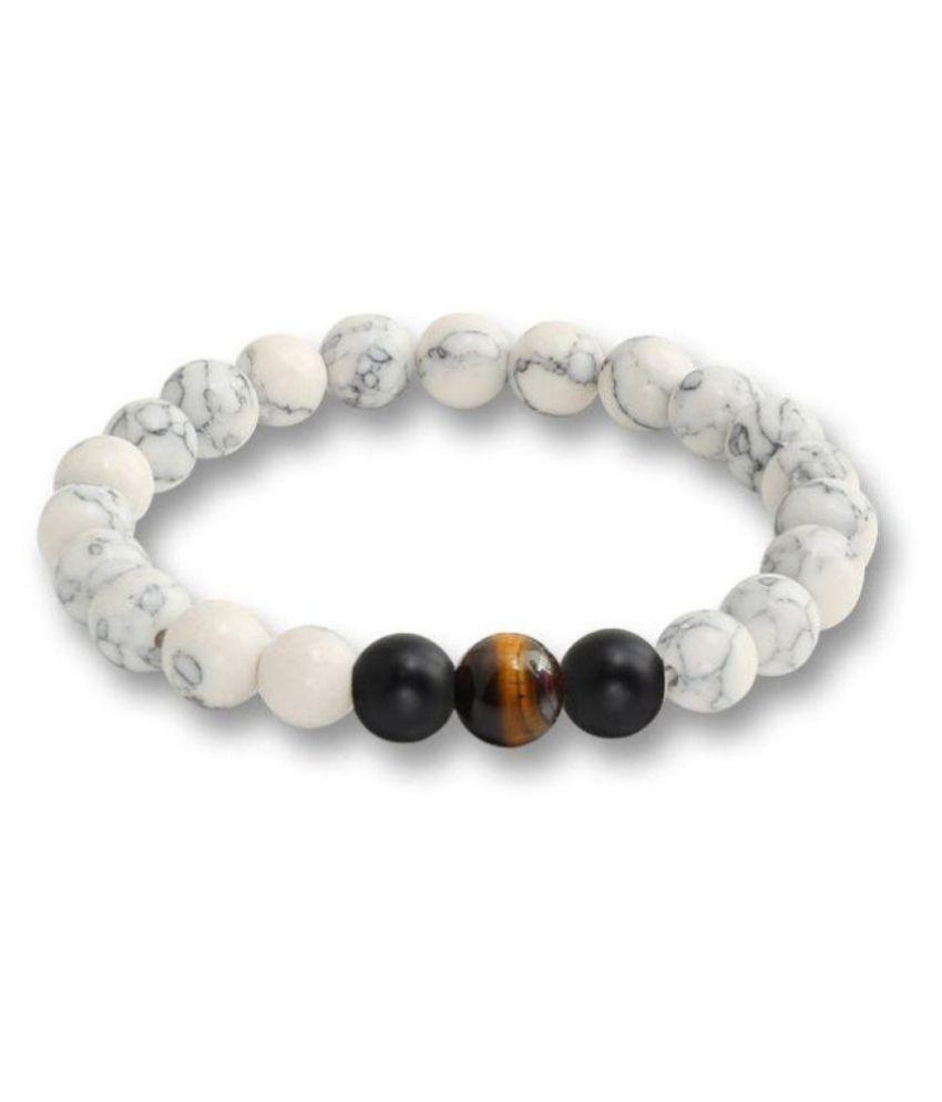 8mm White Howlite With Black Matte Onyx & Yellow Tiger Eye Natural Agate Stone Bracelet