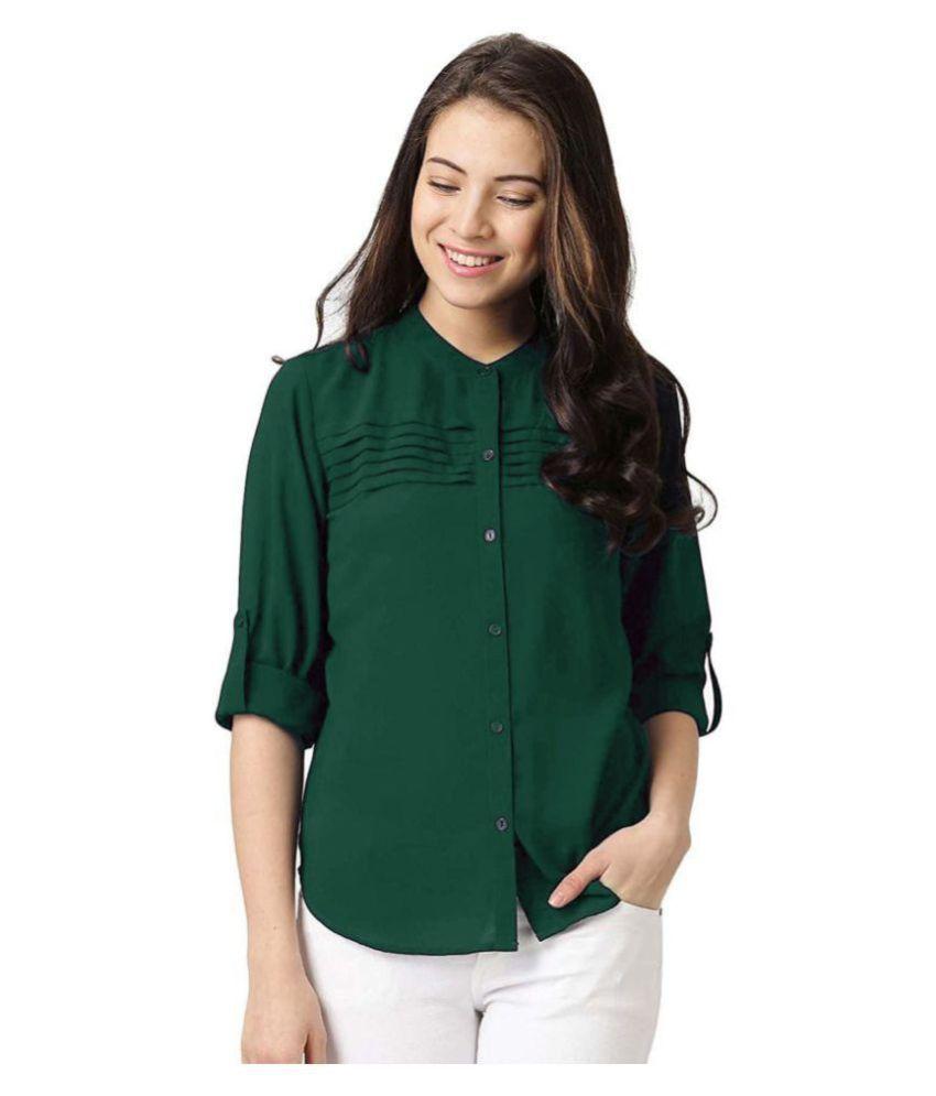 Yukon Green Poly Crepe Shirt