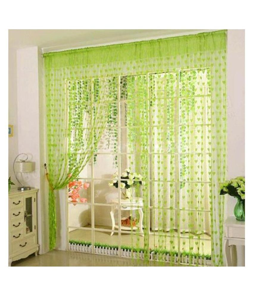Stylewell Set of 2 Door Eyelet Polyester Curtains Green