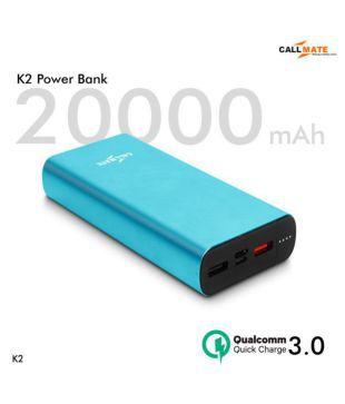 Callmate K2 With QC3.0 20000  mAh Li Polymer Power Bank Cyan