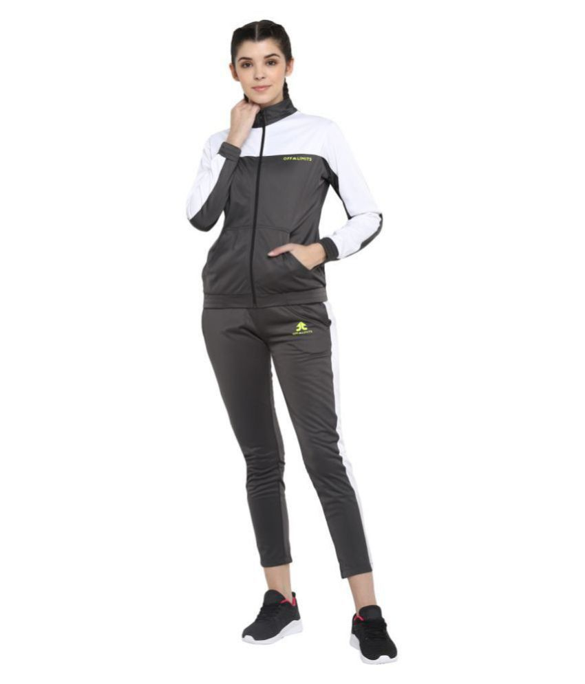 OFF LIMITS Grey Polyester Color Blocking Tracksuit