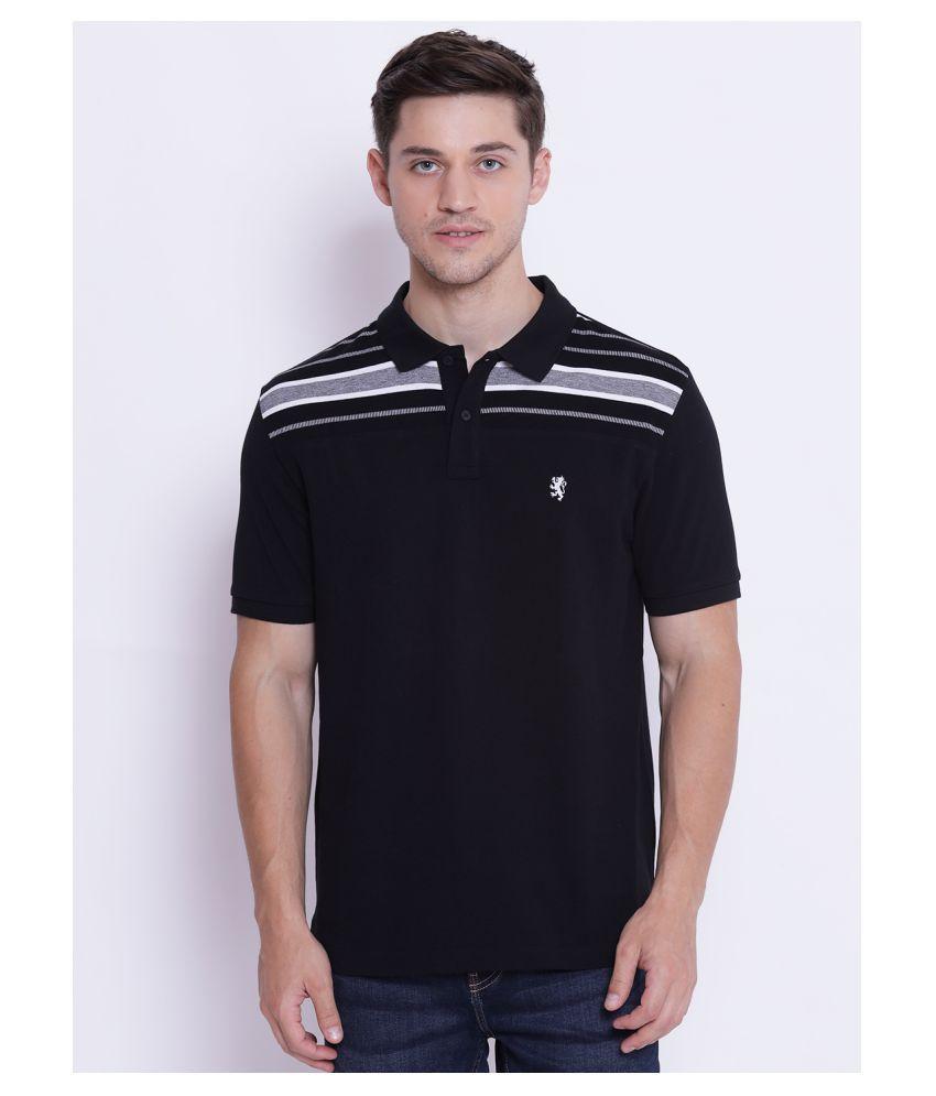 Red Tape 100 Percent Cotton Black Color Block Polo T Shirt