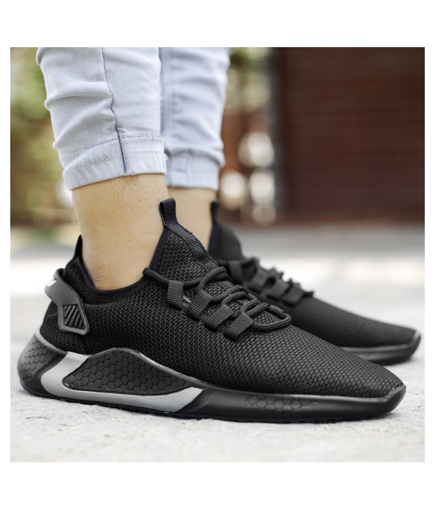 VESFRITA Sports Black Running Shoes