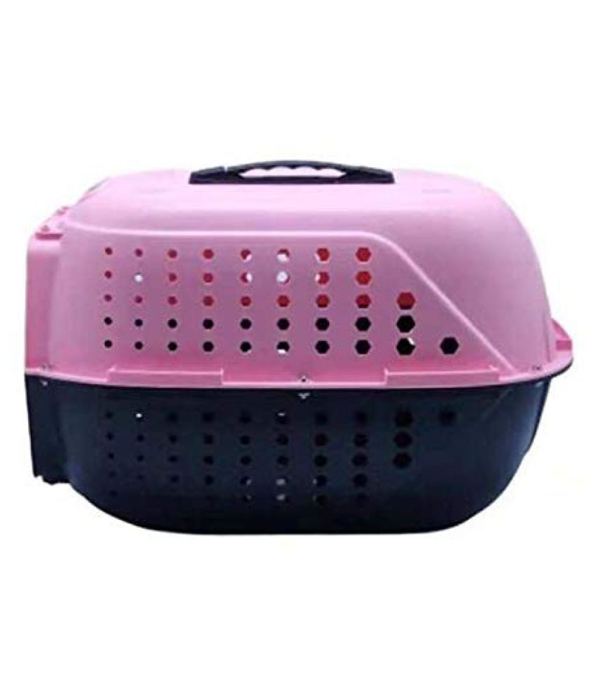 Emily Pets Pet Traditional Kennel Pets Carrier Plastic Pet Cage for Cat  Pink