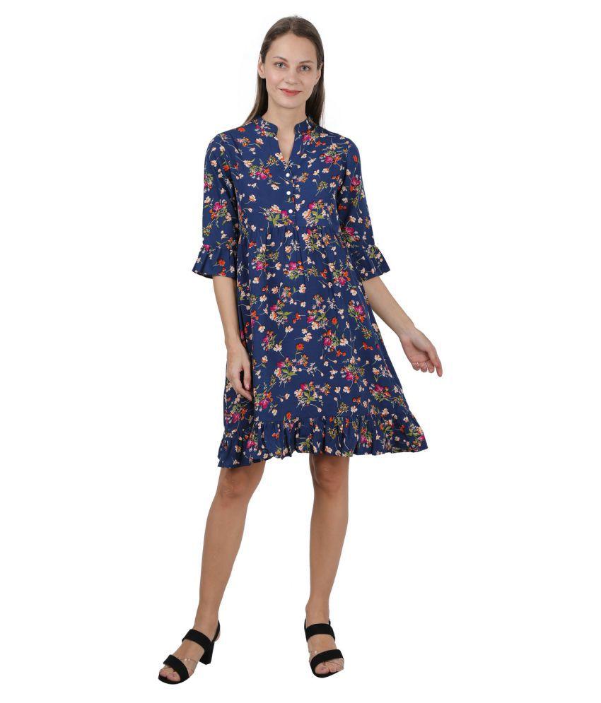 GALWIZ Crepe Blue A- line Dress