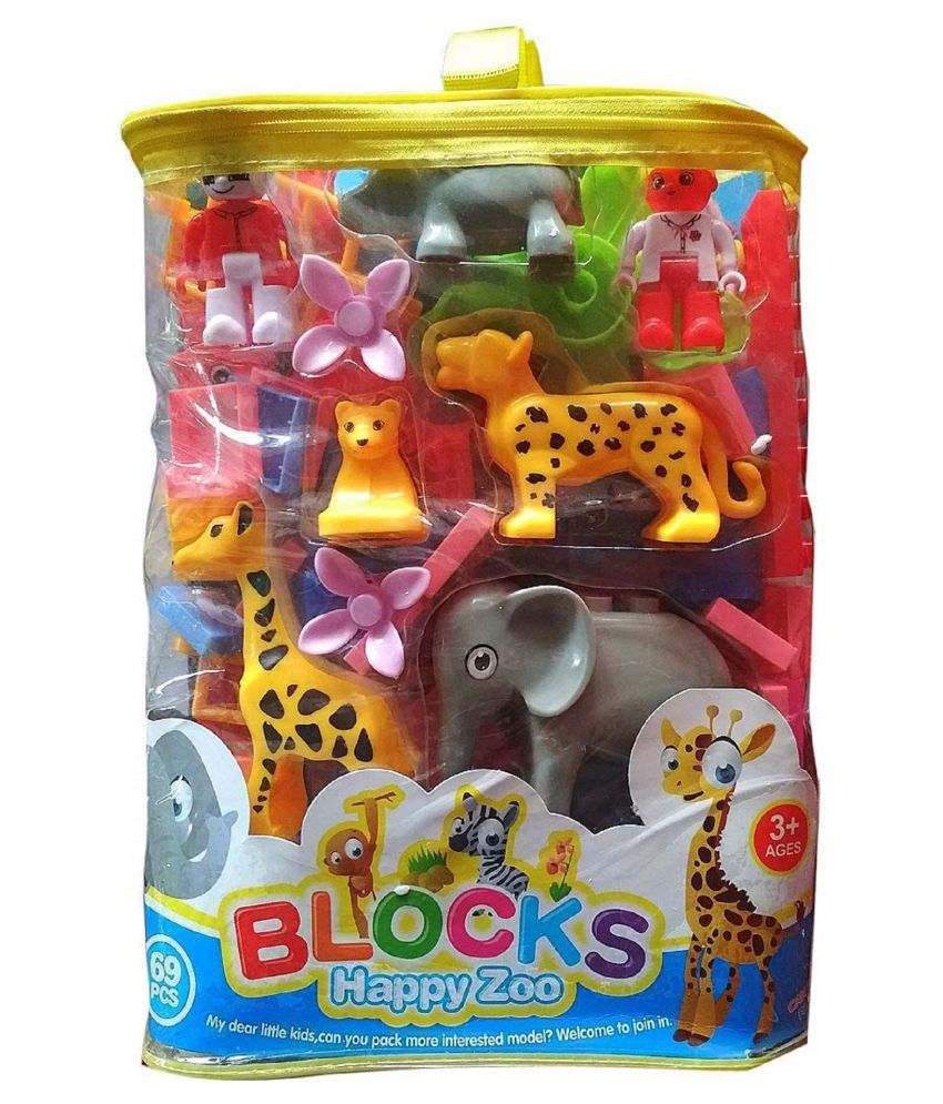 VBE Animal Happy Zoo Blocks Game Toys 69 Pieces Block Set Kids Best Learning Blocks About Jungle  amp; Animals