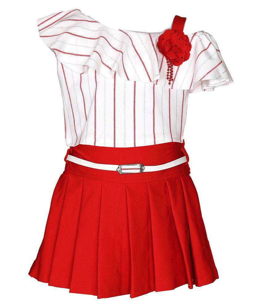 Lemonmint girls casual sleeveless one shoulder knee length skirt top 02-903 M