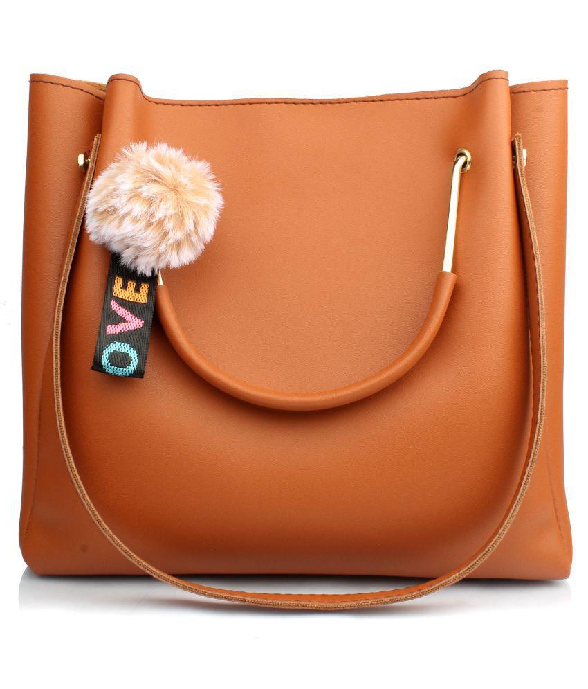 Raspberry Tan P.U. Shoulder Bag