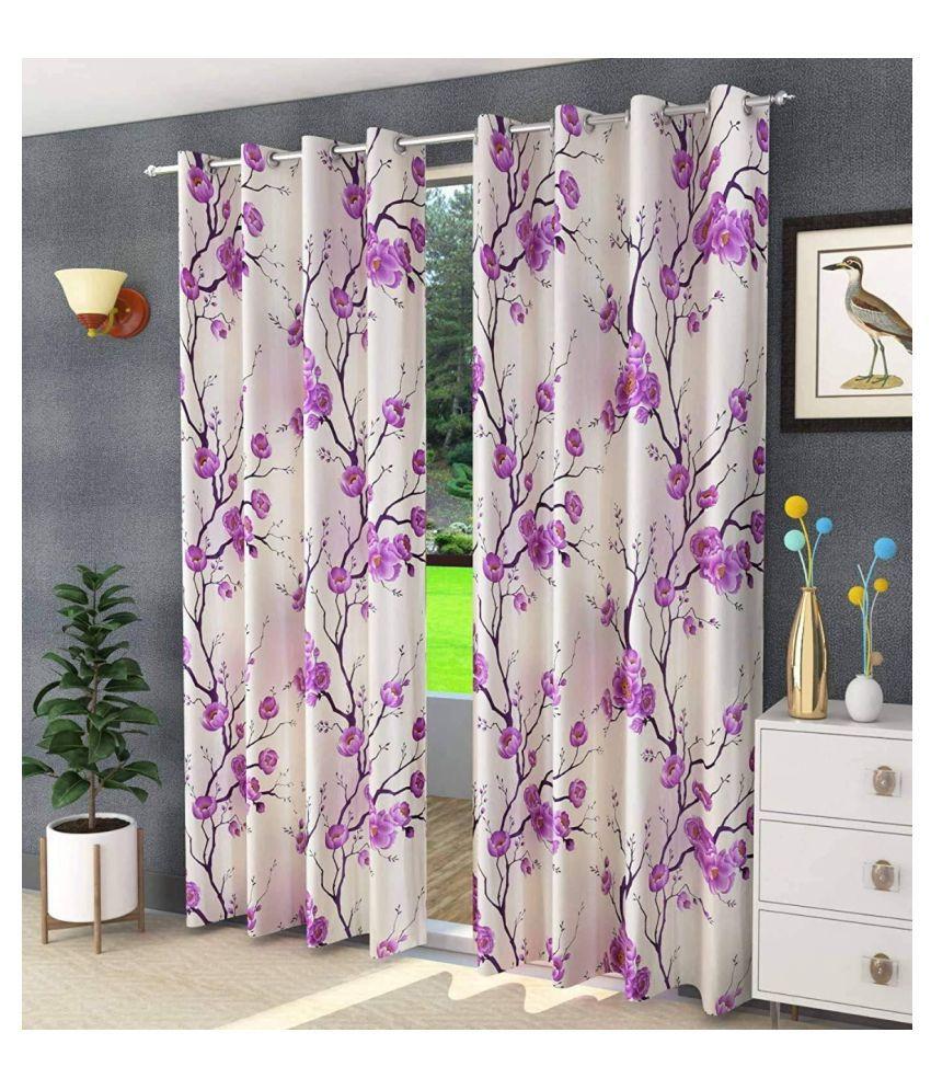 sai traders Set of 2 Door Blackout Room Darkening Ring Rod Polyester Curtains Purple