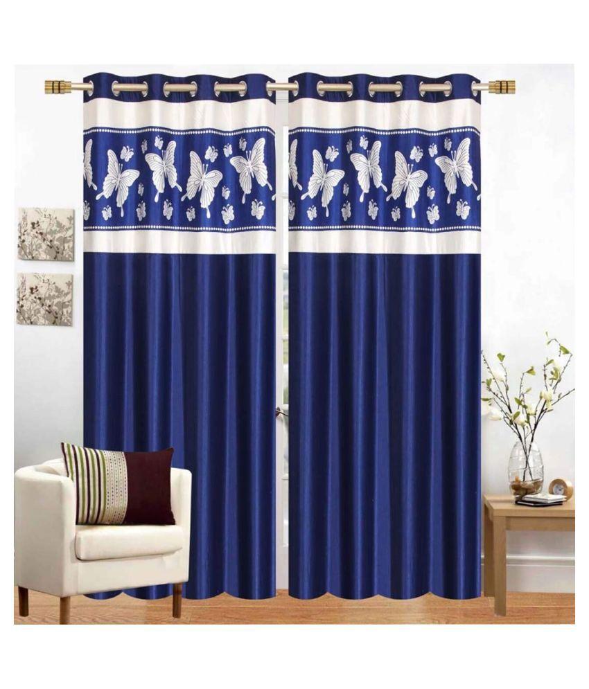 garg cotex pvt ltd Set of 2 Door Blackout Room Darkening Eyelet Polyester Curtains Blue