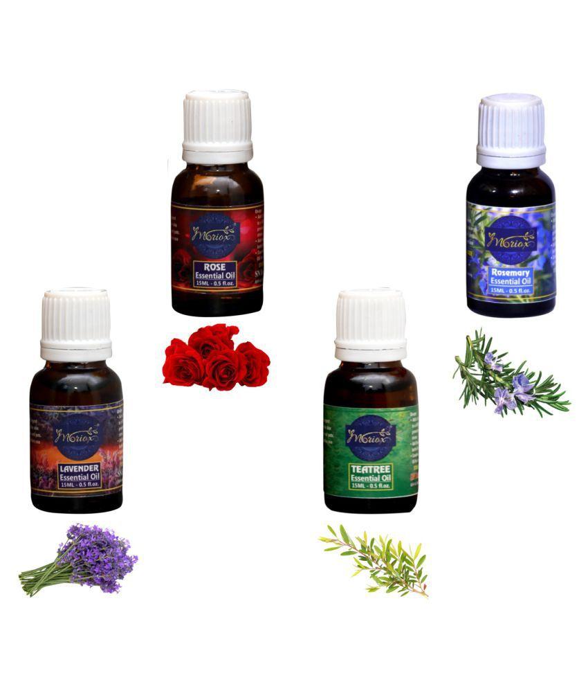 Moriox Rose,Rosemary,Lavender,Tea Tree essential oils-Pack of 4 Aromas/Diffuser/Soap Oil Essential Oil 240 g