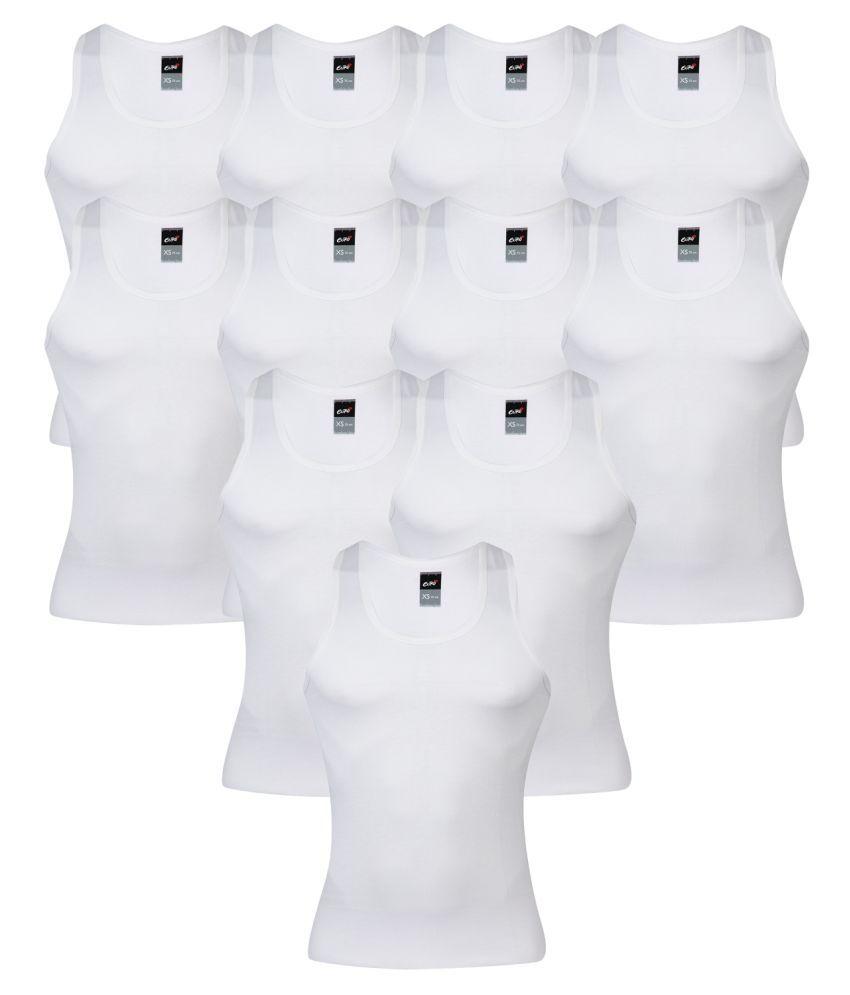 Euro White Sleeveless Vests Pack of 11