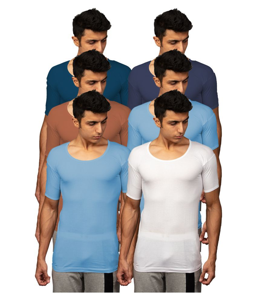 Rupa Multi Half Sleeve Vests Pack of 6
