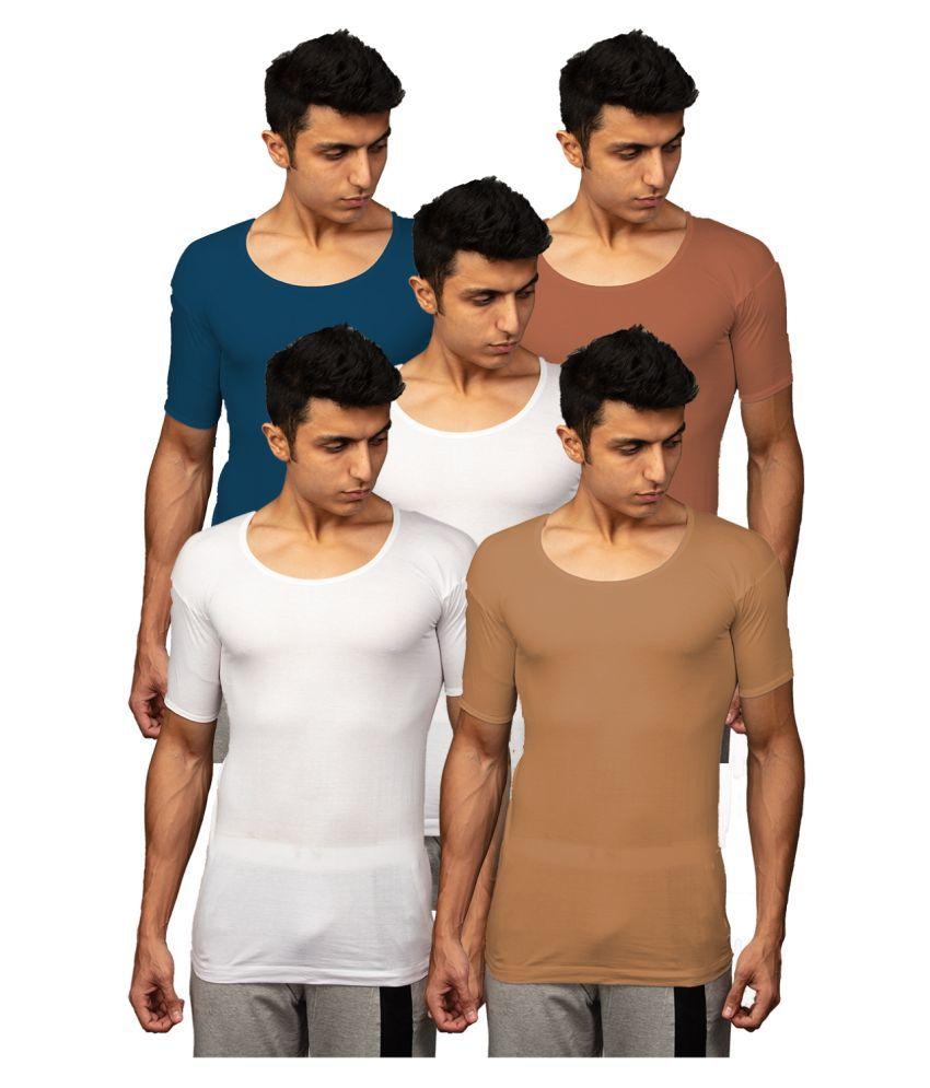 Rupa Multi Half Sleeve Vests Pack of 5