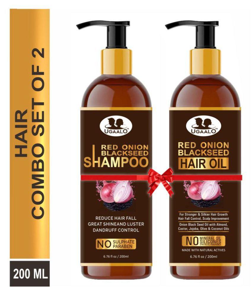 Ugaalo Red Onion Blackseed Oil & Red Onion Blackseed Shampoo- 400 mL Pack of 2