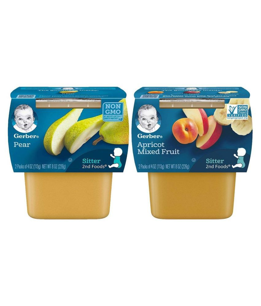 Gerber Apricot with Mixed Fruit + Pears Snack Foods for 6 Months + ( 226 gm )