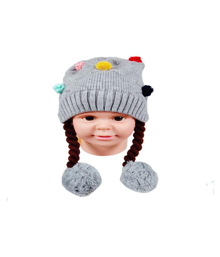 Warmzone Winter Solid Self Design Kids Stylish Cap ( 0238C )